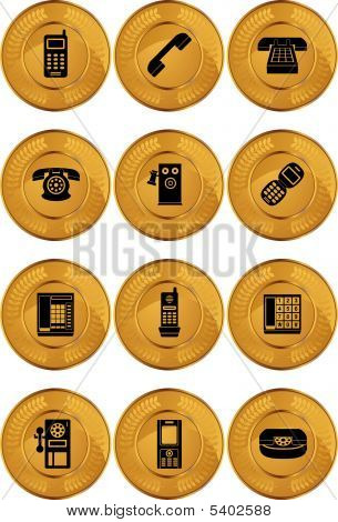 Phone Icon Set Coin