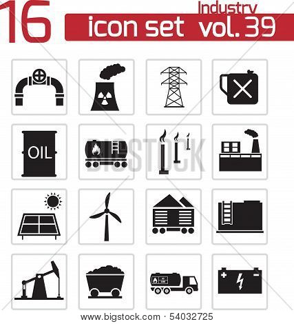 Vector black industry icons set on white background