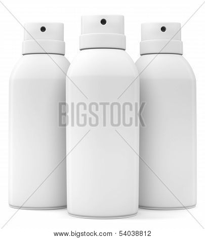 Three Blank Spray Cans