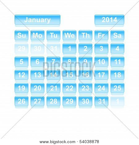 Monthly Calendar For New Year 2014. January