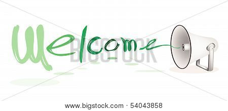 Megaphone Shouting Word Welcome On White Background