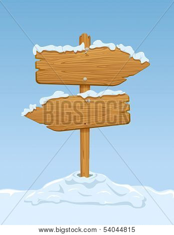 Wooden sign with snow