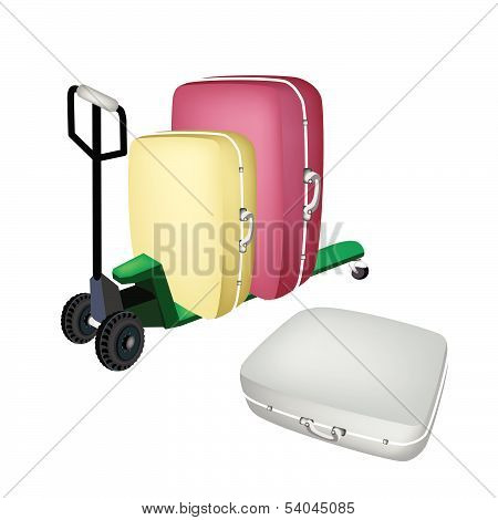 A Green Pallet Truck Loading Travel Suitcases