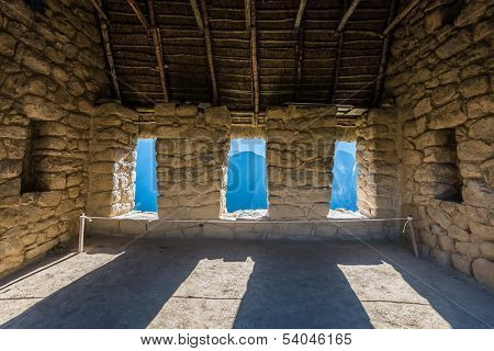 interior of the House of the Guardians Machu Picchu, Incas ruins in the peruvian Andes at Cuzco Peru