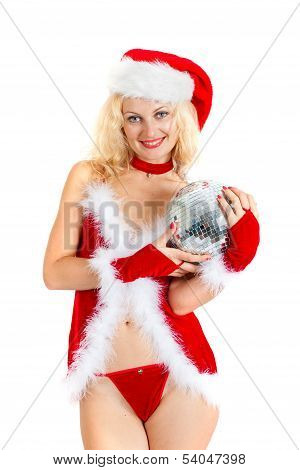 Sexy Santa Helper With Big Disco Ball