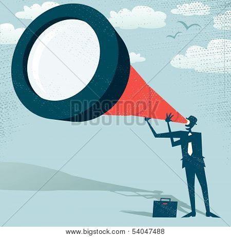 Abstract Businessman looks through his Telescope.