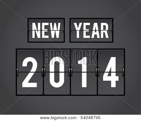 New Year 2014 analog countdown counter board