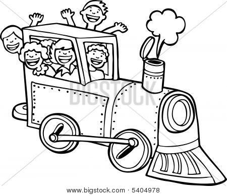 Cartoon Train Ride Line Art