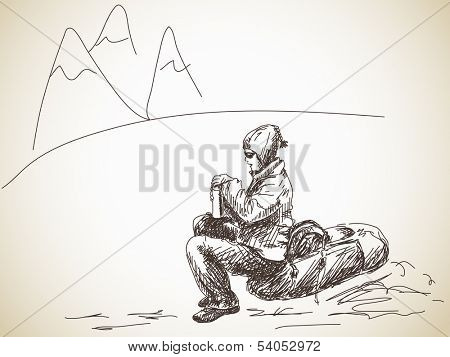 Hand drawn girl backpacker at rest with thermos bottle Vector