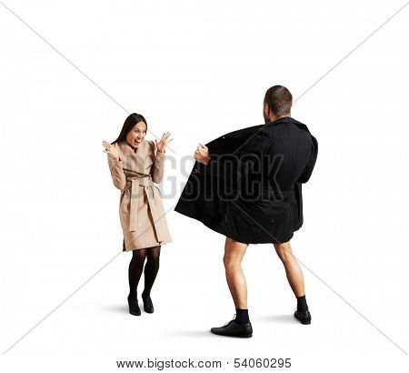 funny picture of laughing woman and exhibitionist. isolated on white background