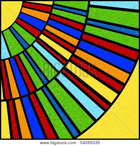 Colorful Circular Stained Glass Window Panel