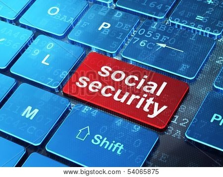 Safety concept: Social Security on computer keyboard background