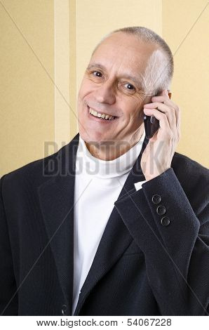 Cheerful And Smiling Man On Phone