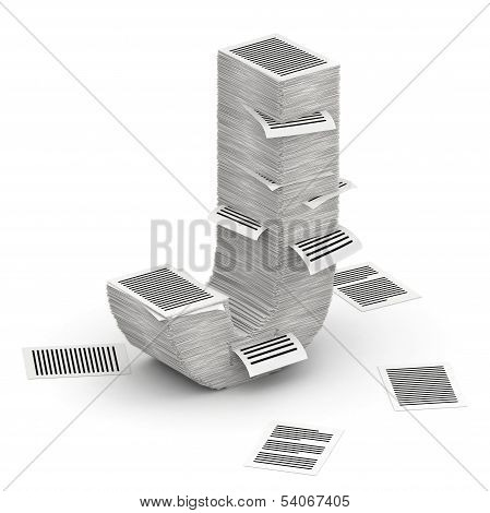 Letter J, Pages Paper Stacks Font 3D Isometry
