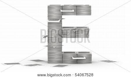Letter E, Pages Paper Stacks Font