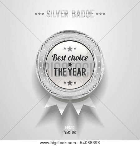 Silver Vector Glossy Badge