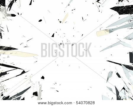 Shattered Glass Isolated Over White Background