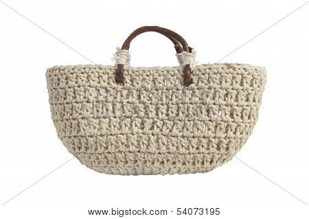 Braided Handbag With Wooden Handles