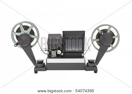 Vintage 8 mm film viewer editor isolated with clipping path.