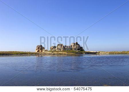 famous house on the rocks at ploumenach, cote de granit rose, cotes d'armor brittany, france