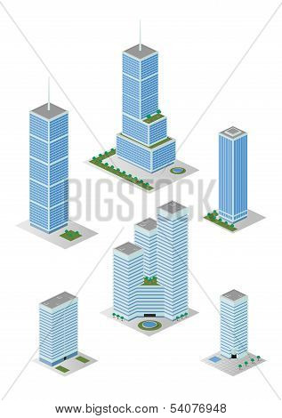 Isometric Tall City Office Buildings Pack