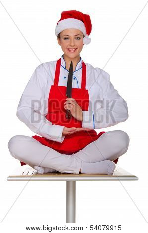 Smiling Chef With Knife