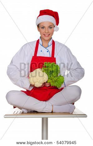 Smiling Cook With Cabbage And Lettuce