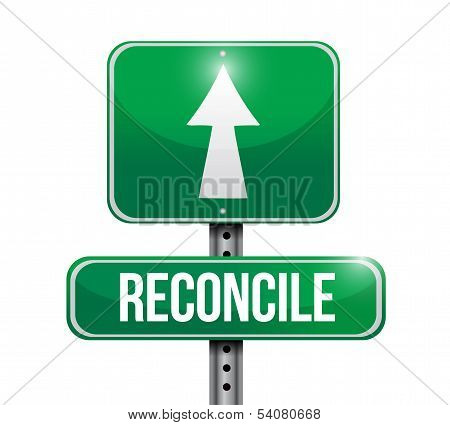 Reconcile Road Sign Illustration Design