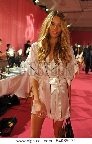 NEW YORK NY - NOVEMBER 13: Model Ieva Laguna prepares backstage