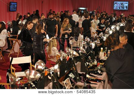 NEW YORK NY - NOVEMBER 13: A view of atmosphere at the 2013 Victoria's Secret Fashion Show backstage
