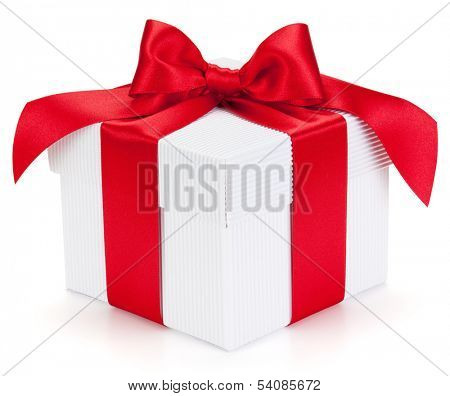 Gift with ribbon and bow isolated on the white background, clipping path included.