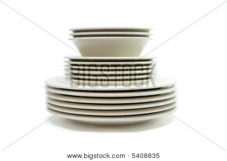 Beige Dinner And Soup Plates And Saucers Isolated