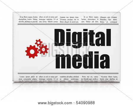Advertising news concept: newspaper with Digital Media and Gears