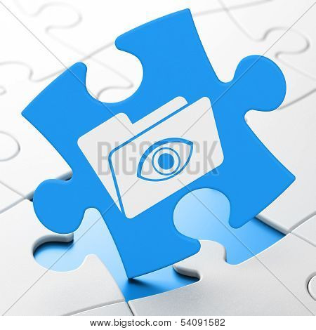 Finance concept: Folder With Eye on puzzle background