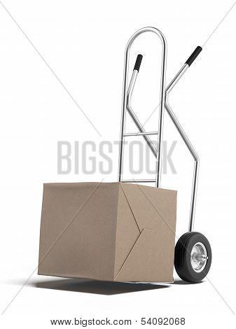 cardboard box on hand truck