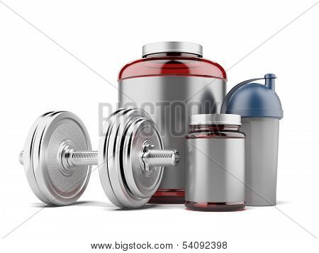 whey protein and dumbell