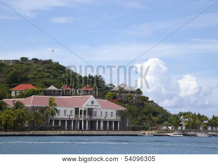 Fort Oscar and Hotel de Ville in Gustavia, St. Barts, French West Indies