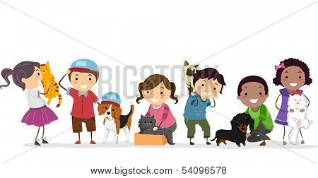 Illustration of a Group of Kids Standing Beside Their Pets