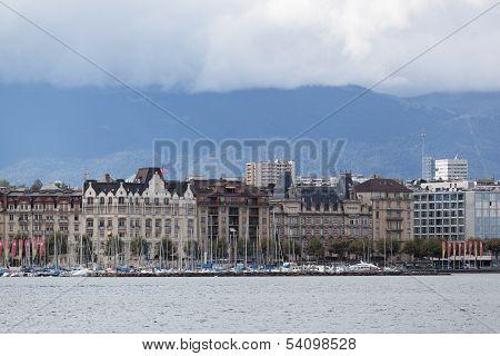 view of city of Geneva the Leman Lake in Switzerland Europe