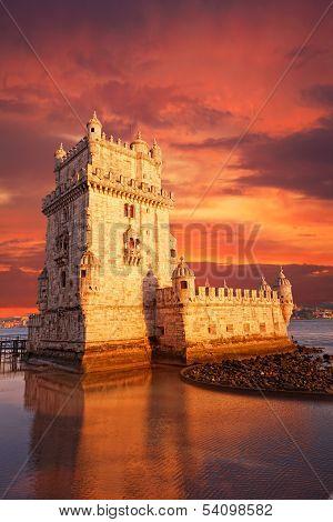 Belem Tower on a sunset Lisbon Portugal