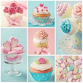 stock photo of flavor  - Pastel colored  cupcakes and marshmallow collage - JPG