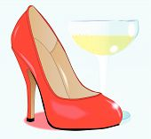 stock photo of stiletto  - A red stiletto heel shows by a glass of champagne - JPG