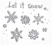 Set of doodle snowflakes. Let it snow. Vector background.