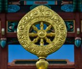 stock photo of shakti  - Dharmacakra or the Wheel of the Law - JPG
