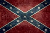 stock photo of flag confederate  - Vintage distressed version of the Confederate flag - JPG