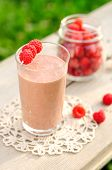 picture of chocolate spoon  - Chocolate Raspberry Smoothie Decorated with Fresh Raspberries - JPG