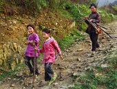 Asian Family, Mother And Two Daughters, Sisters, On Mountain Trail.