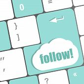 Social Media Or Social Network Concept: Keyboard With Follow Button