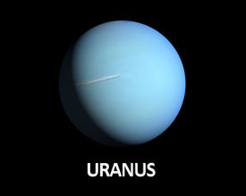 stock photo of uranus  - A rendering of the Gas Planet Uranus on a clean black background with english caption - JPG