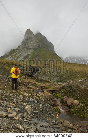 Svalbard, Norway - July 2013: Hiking in Alkhornet, Svalbard